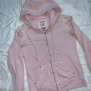 Light Pink True Religion Zip-Up Hoodie